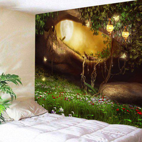 Fancy Wall Hanging Fantasy Forest Hole Pattern Tapestry
