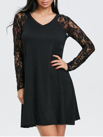 Store Floral Lace Insert V Neck Tunic Dress