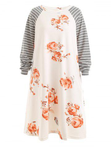 Affordable Plus Size Striped Floral Raglan Sleeve Dress