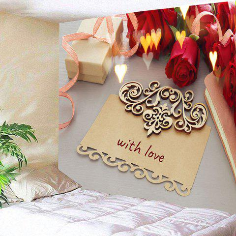 Discount Valentine's Day Gift Roses Flowers Pattern Wall Tapestry