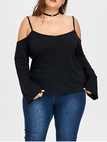 Shop Plus Size Open Shoulder Spaghetti Strap Blouse