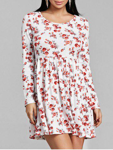 Online Long Sleeve Tiny Floral Print Dress
