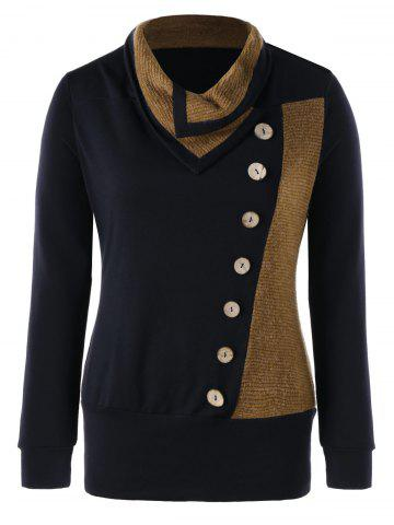 Outfit Plus Size Heap Collar Buttons Tunic Sweatshirt