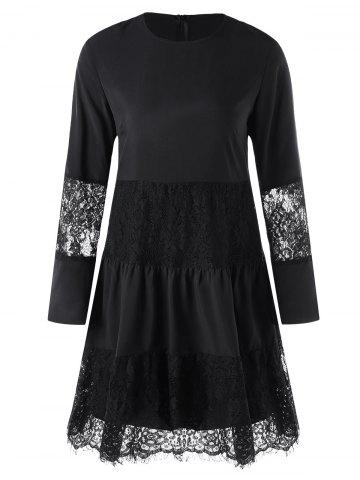Chic Lace Panel Dress with Slip Dress