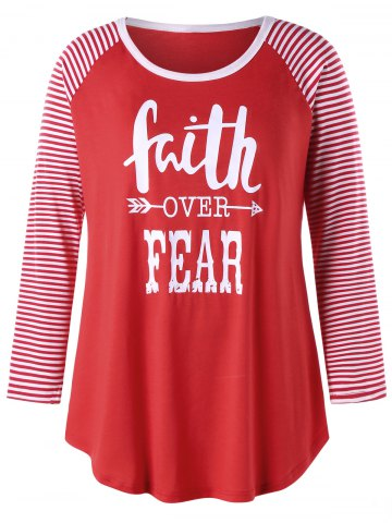 Discount Plus Size Faith Over Fear Raglan Sleeve Tee