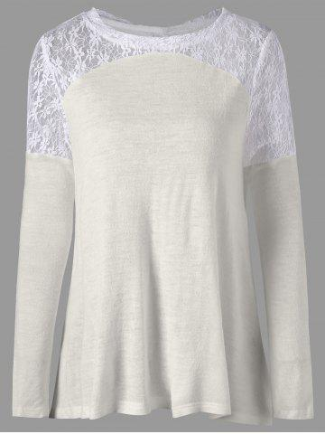 Online Back Tie Up Long Sleeve Lace Insert Top