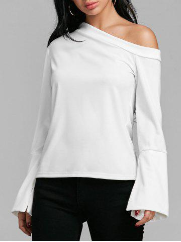 New Skew Collar Flare Sleeve Blouse