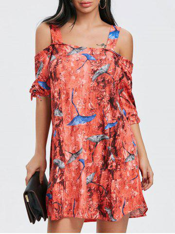 Fashion Tie Sleeve Print Cold Shoulder Dress