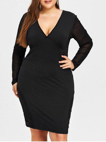 Fashion Plunging Sheer Mesh Panel Plus Size Dress
