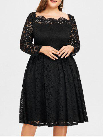 Affordable Square Neck Lace Plus Size Formal Dress