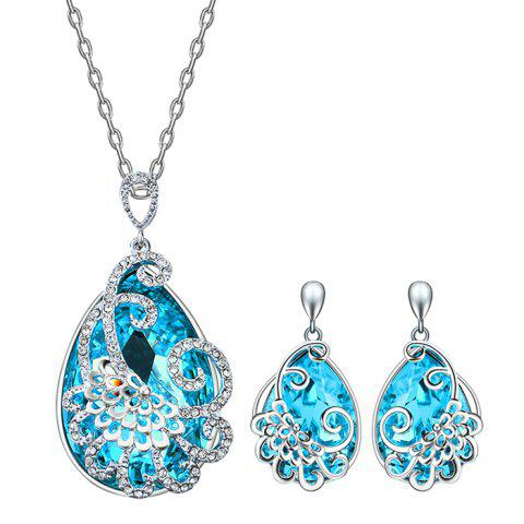 Unique Faux Aquamarine Teardrop Peacock Jewelry Set