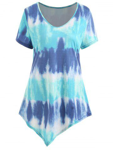 Hot Ombre Asymmetrical Plus Size Tee