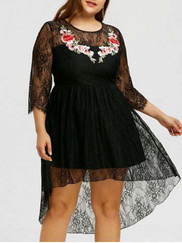 Buy Plus Size Lace Embroidery High Low Dress