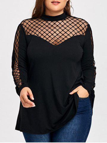 Latest Plus Size Lattice Cut Long Sleeve T-shirt
