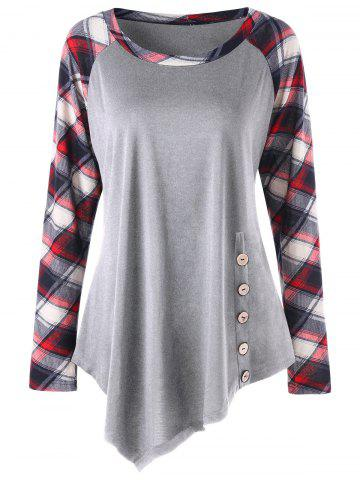 Chic Plus Size Raglan Sleeve Plaid Panel Asymmetric Top