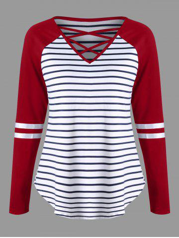 Cheap Lattice Neck Striped Curved Jersey Top