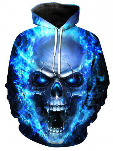 New 3D Flame Skull Print Pullover Hoodie
