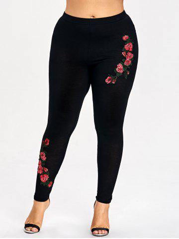 Outfits Plus Size Floral Embroidery Leggings