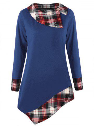Unique Plus Size Plaid Trim Asymmetrical Tee