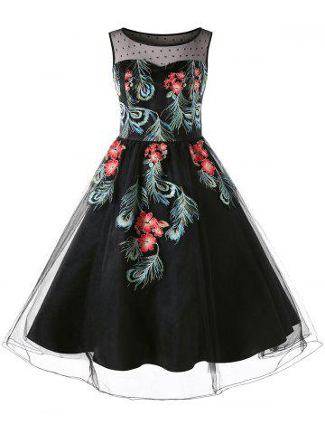Unique Plus Size Sleeveless Embroidery 50s Swing Dress