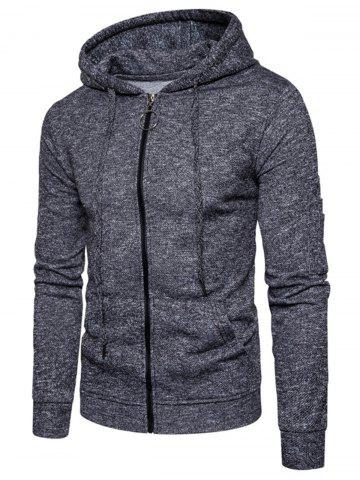 Cotton Blends Pouch Pocket Zip Up Hoodie