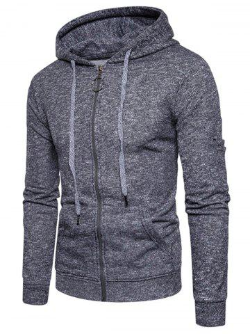 Cheap Cotton Blends Pouch Pocket Zip Up Hoodie