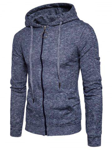 Online Cotton Blends Pouch Pocket Zip Up Hoodie