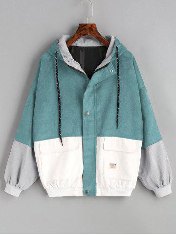 Trendy Color Block Hooded Corduroy Jacket
