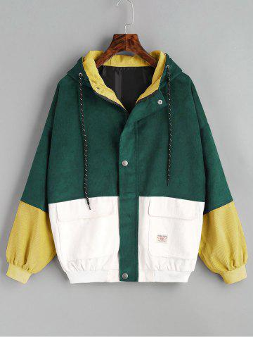 Fashion Color Block Hooded Corduroy Jacket