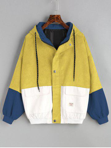 Chic Color Block Hooded Corduroy Jacket