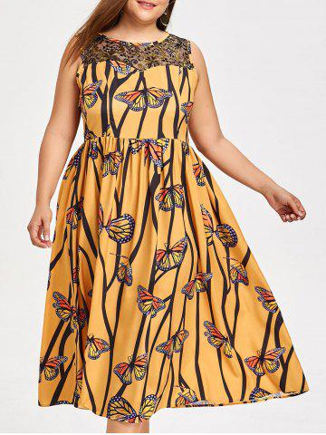 Shops Lace Yoke Butterfly Print Plus Size Dress