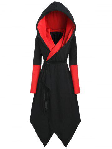 Chic Plus Size Hooded Asymmetric Color Block Coat