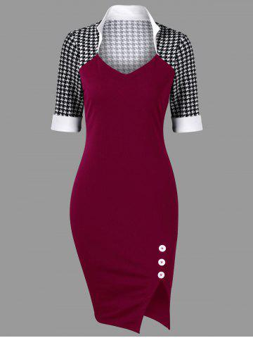 Cheap Side Slit Houndstooth Fitted Pencil Work Dress