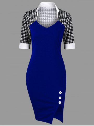Fashion Side Slit Houndstooth Fitted Pencil Work Dress