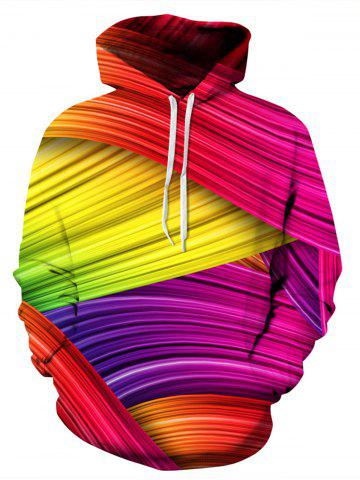 New Colorful Rainbow 3D Print Pullover Hoodie