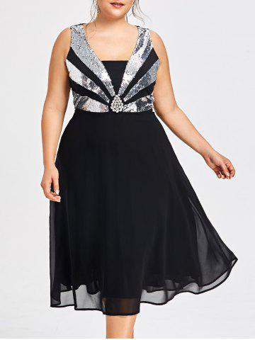 Trendy Plus Size Sequined Flowy Party Dress