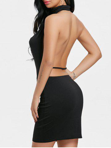 Affordable Draped Halter Neck Backlesss Dress with Choker