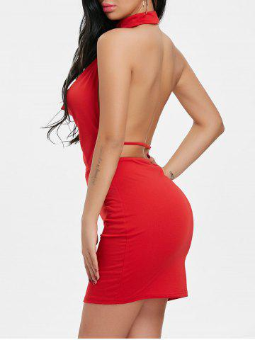 Fancy Draped Halter Neck Backlesss Dress with Choker
