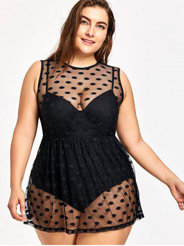 Plus Size Polka Dot One-piece Swimwear