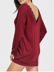 Open Back Lace Insert Sweatshirt Dress -