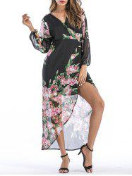 V Neck Wrap Floral Printed Dress -