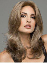 Long Center Parting Slightly Curled Colormix Synthetic Wig -