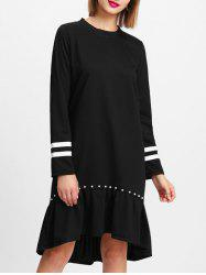 Striped Insert Sleeve Shift Dress -