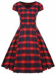 Vintage Plaid Cap Sleeve Plus Size Dress -