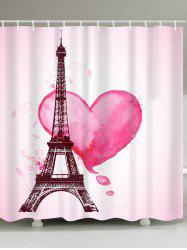 Valentine's  Day Eiffel Tower Heart Print Waterproof Bathroom Shower Curtain -