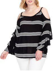 Plus Size Cold Shoulder Striped Insert T-shirt -
