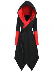 Plus Size Hooded Asymmetric Color Block Coat -