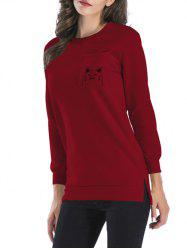 Side Slit Back Cat Pattern Sweatshirt -
