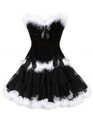 Two Piece Christmas Ruffled Corset Dress -