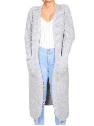 Collarless Front Pockets Longline Cardigan -